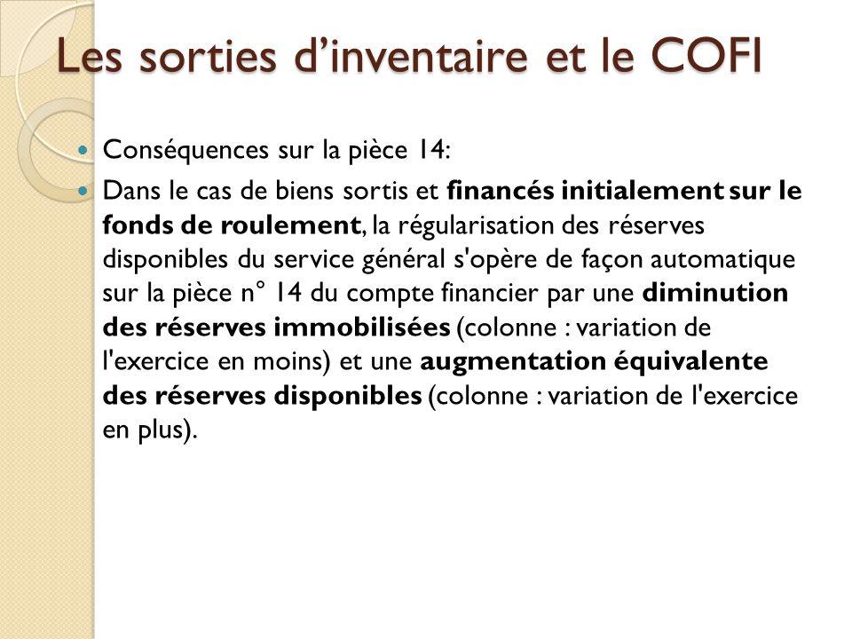 Les sorties dinventaire et le COFI Conséquences sur la pièce 14: Dans le cas de biens sortis et financés initialement sur le fonds de roulement, la ré