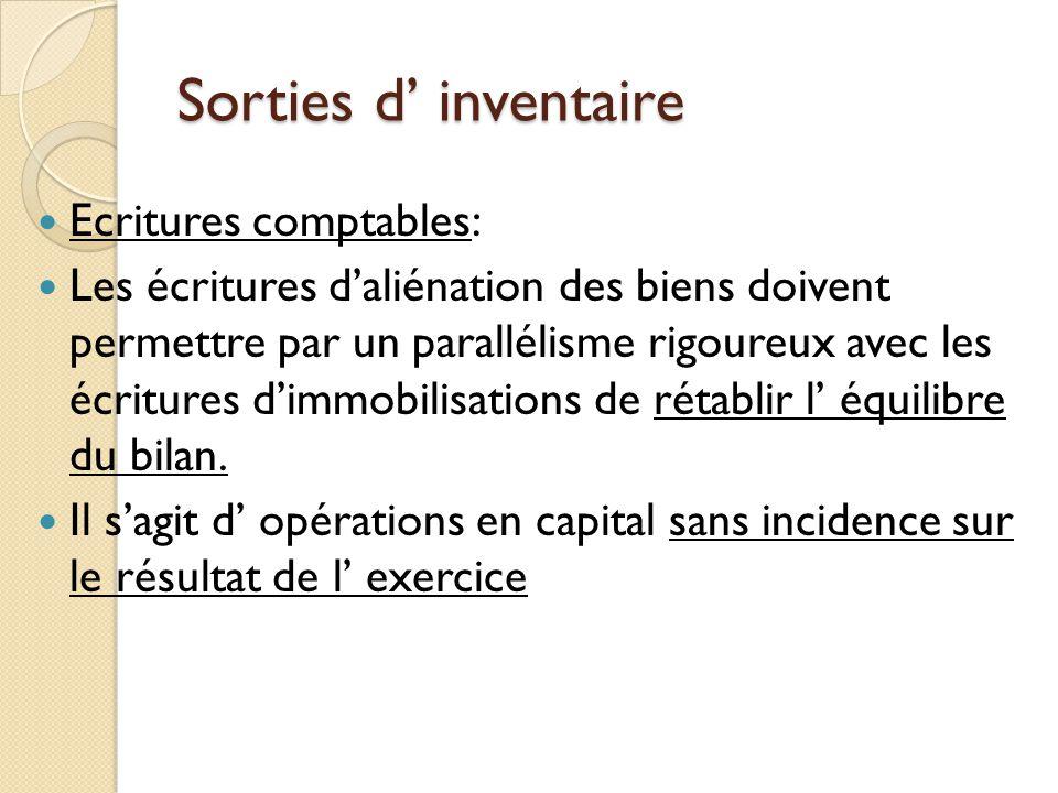 Sorties d inventaire Ecritures comptables: 3 comptes de financement: 1.Cpte de racine 131: subvention déquipement 2.