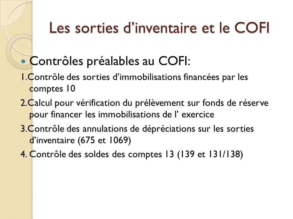 Les sorties dinventaire et le COFI Contrôles préalables au COFI: 1.Contrôle des sorties dimmobilisations financées par les comptes 10 2.Calcul pour vé