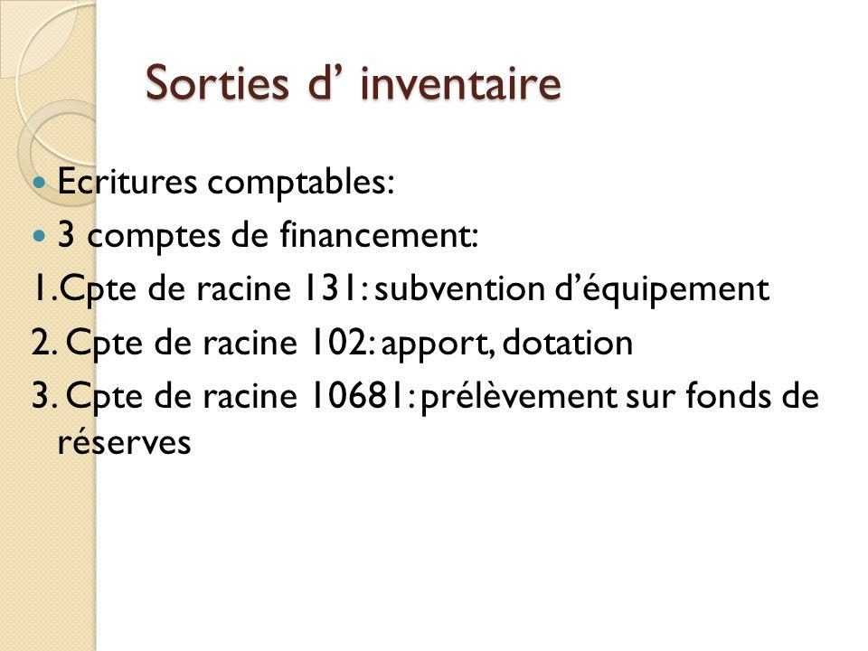 Sorties d inventaire Ecritures comptables: 3 comptes de financement: 1.Cpte de racine 131: subvention déquipement 2. Cpte de racine 102: apport, dotat