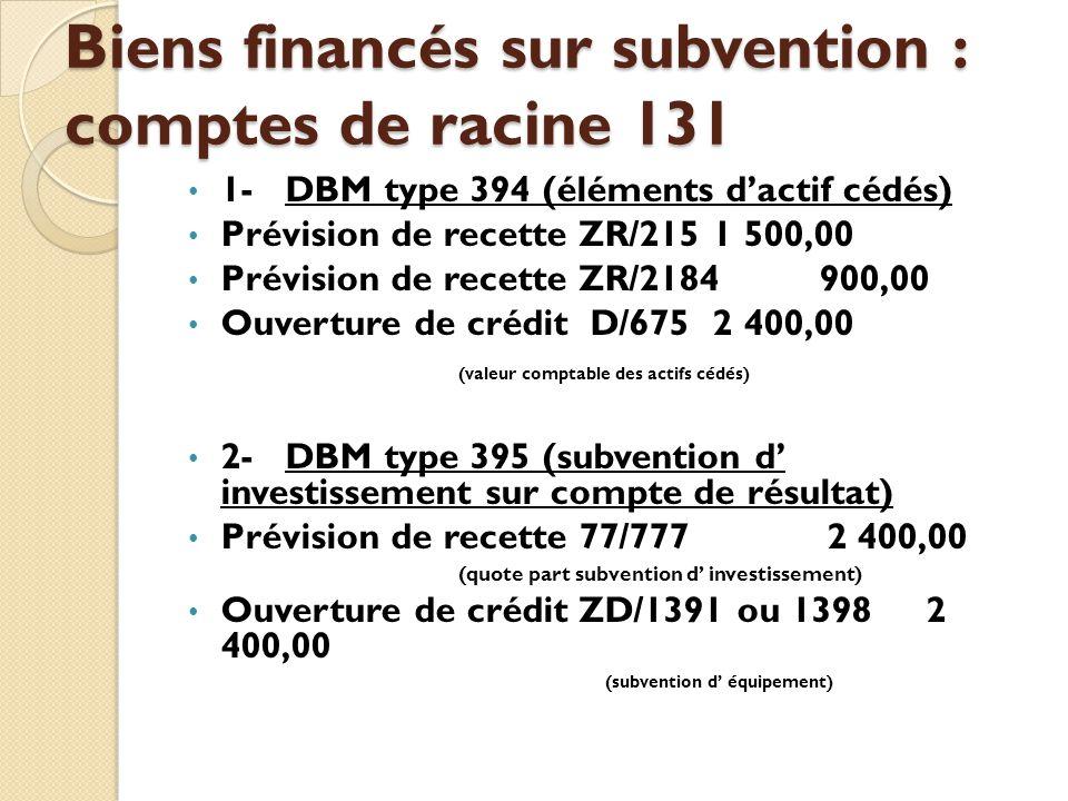 Biens financés sur subvention : comptes de racine 131 1-DBM type 394 (éléments dactif cédés) Prévision de recette ZR/2151 500,00 Prévision de recette