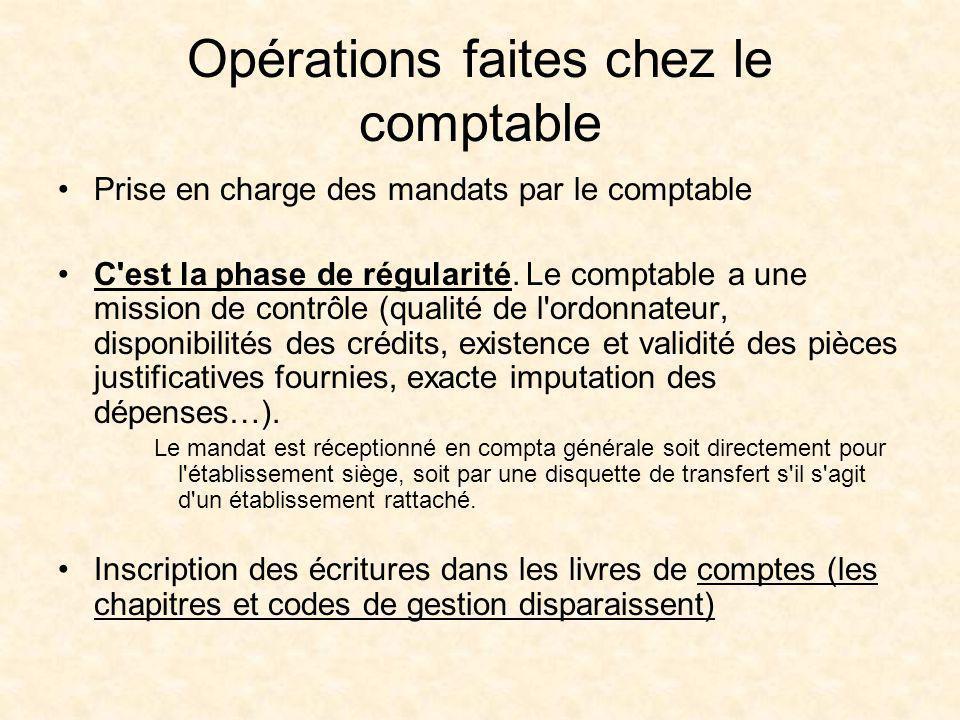 Opérations faites chez le comptable Prise en charge des mandats par le comptable C'est la phase de régularité. Le comptable a une mission de contrôle