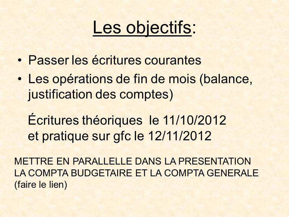 Les objectifs: Passer les écritures courantes Les opérations de fin de mois (balance, justification des comptes) Écritures théoriques le 11/10/2012 et
