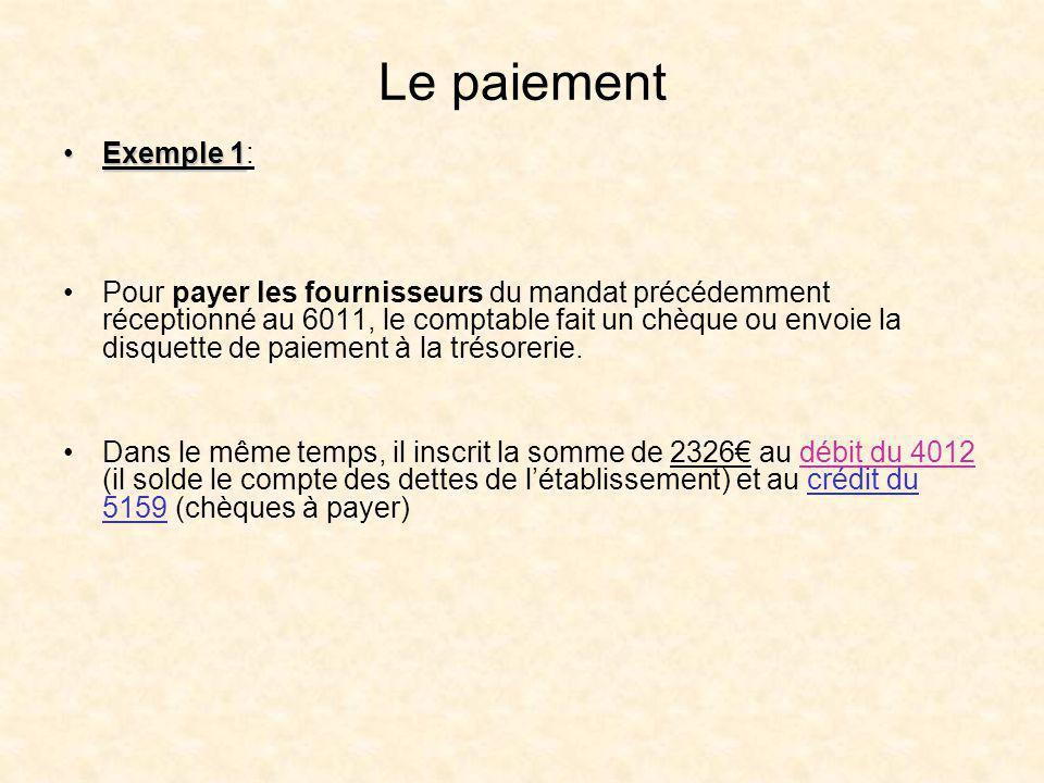 Le paiement Exemple 1Exemple 1: Pour payer les fournisseurs du mandat précédemment réceptionné au 6011, le comptable fait un chèque ou envoie la disqu