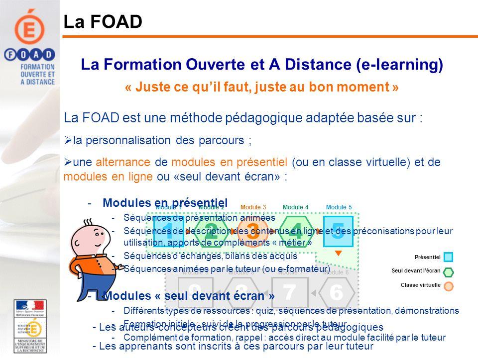 La Formation Ouverte et A Distance (e-learning) « Juste ce quil faut, juste au bon moment » La FOAD La FOAD est une méthode pédagogique adaptée basée sur : la personnalisation des parcours ; une alternance de modules en présentiel (ou en classe virtuelle) et de modules en ligne ou «seul devant écran» ; un accompagnement par un tuteur relais (ou e-formateur).