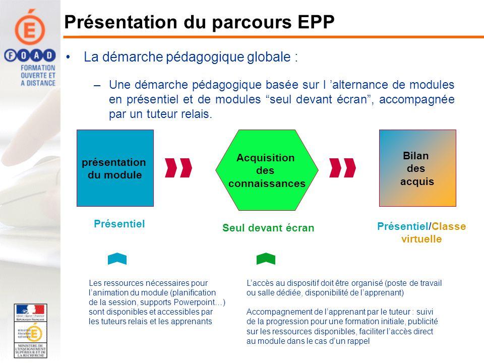 La démarche pédagogique globale : –Une démarche pédagogique basée sur l alternance de modules en présentiel et de modules seul devant écran, accompagn