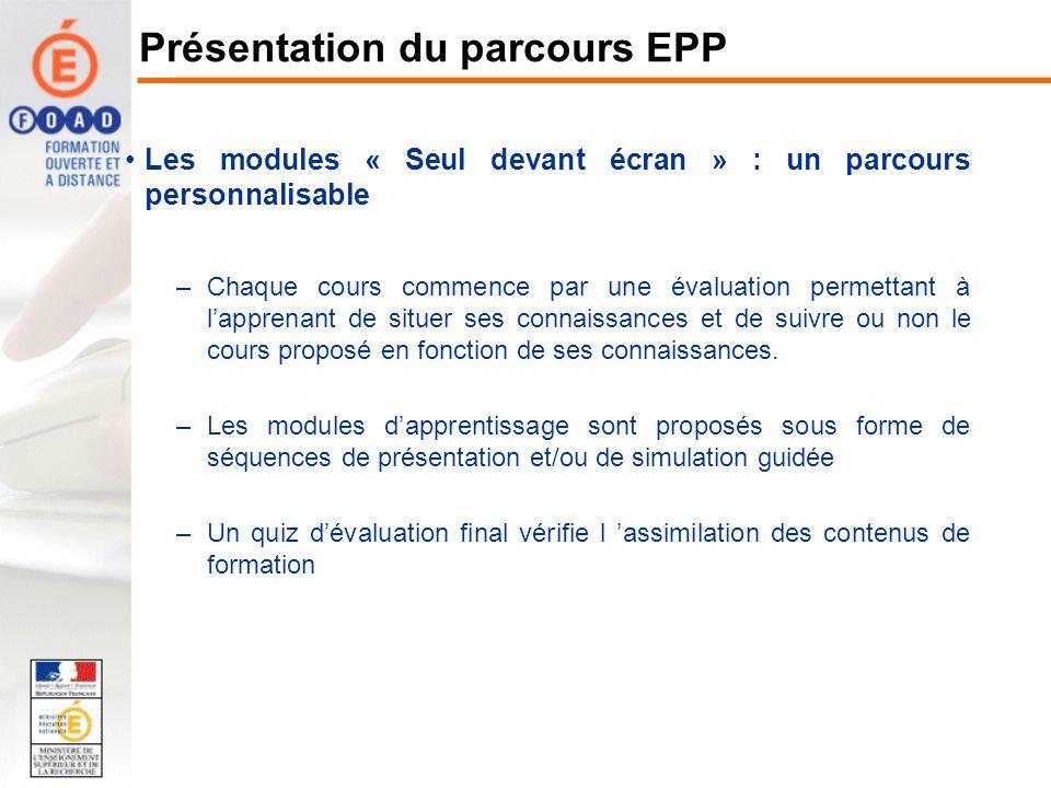 Les modules en présentiel –Les ressources nécessaires pour lanimation du module : planification de la session support de cours PowerPoint –sont disponibles dans lespace QuickR « EPPForm » Présentation du parcours EPP http://foad.orion.education.fr