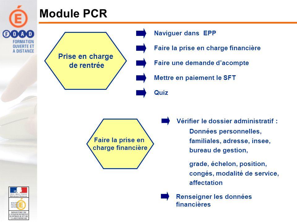 Naviguer dans EPP Faire une demande dacompte Mettre en paiement le SFT Faire la prise en charge financière Prise en charge de rentrée Renseigner les d