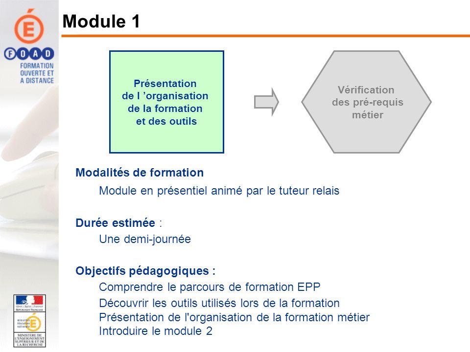 Présentation de l organisation de la formation et des outils Vérification des pré-requis métier Modalités de formation Module en présentiel animé par