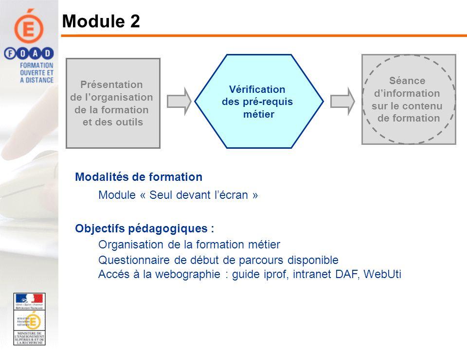Vérification des pré-requis métier Séance dinformation sur le contenu de formation Présentation de lorganisation de la formation et des outils Modalit