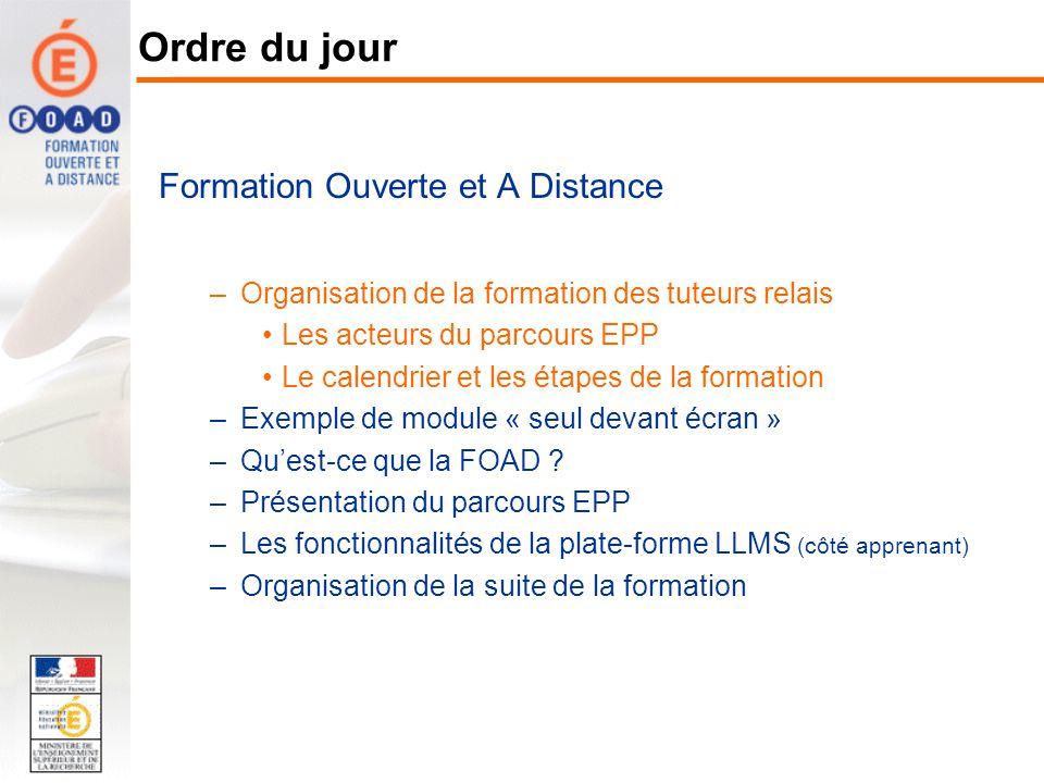 Formation Ouverte et A Distance –Organisation de la formation des tuteurs relais Les acteurs du parcours EPP Le calendrier et les étapes de la formati