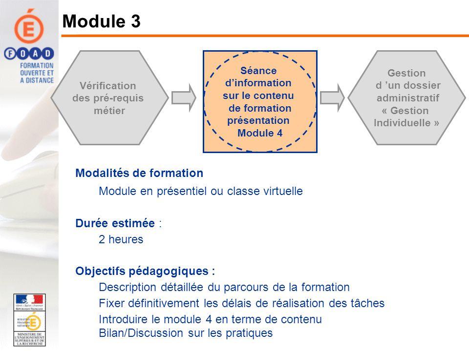 Vérification des pré-requis métier Séance dinformation sur le contenu de formation présentation Module 4 Gestion d un dossier administratif « Gestion