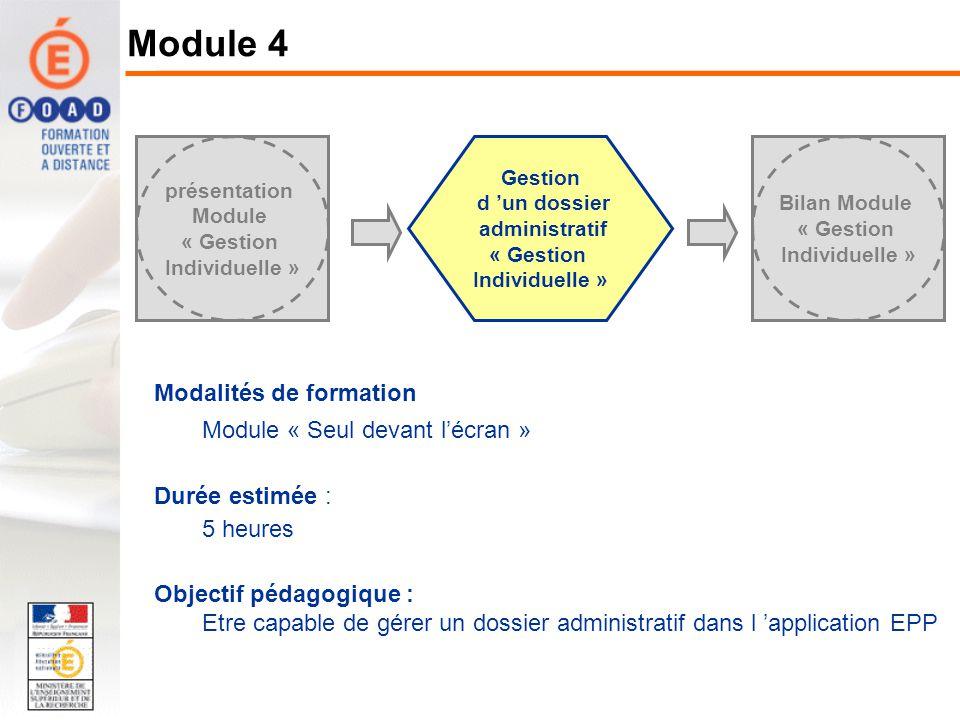 Modalités de formation Module « Seul devant lécran » Durée estimée : 5 heures Objectif pédagogique : Etre capable de gérer un dossier administratif da