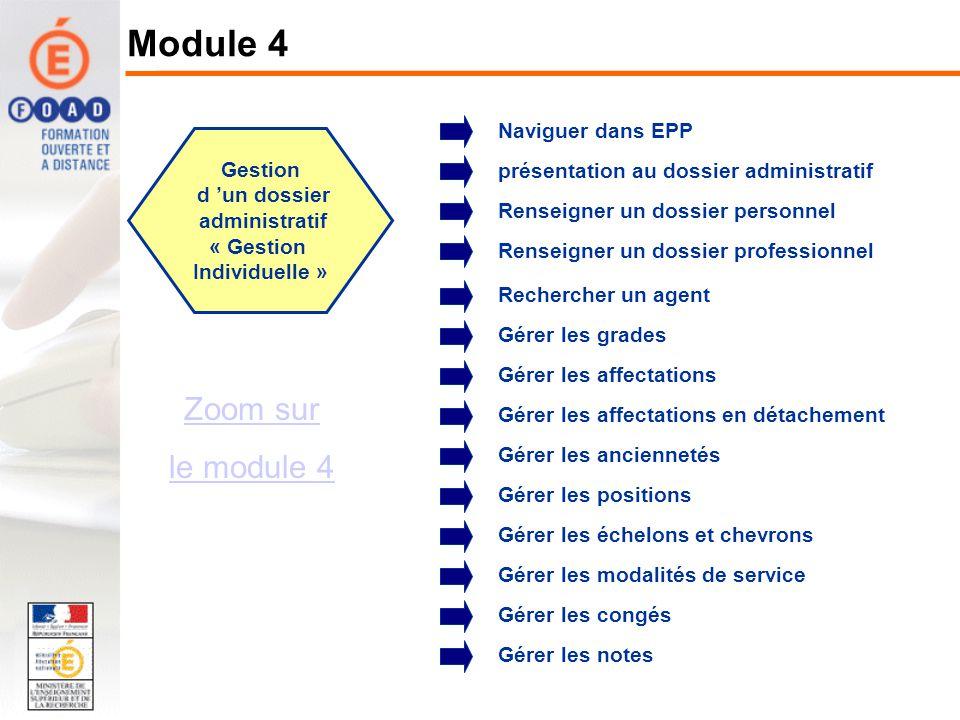 Gestion d un dossier administratif « Gestion Individuelle » Zoom sur le module 4 Naviguer dans EPP Renseigner un dossier personnel Renseigner un dossi