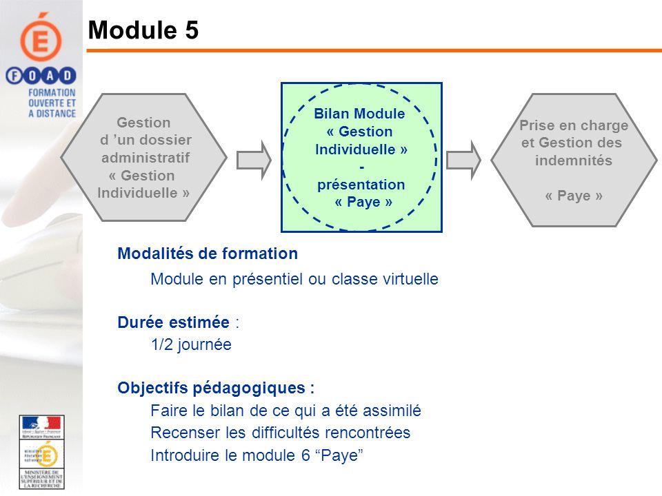 Modalités de formation Module en présentiel ou classe virtuelle Durée estimée : 1/2 journée Objectifs pédagogiques : Faire le bilan de ce qui a été as