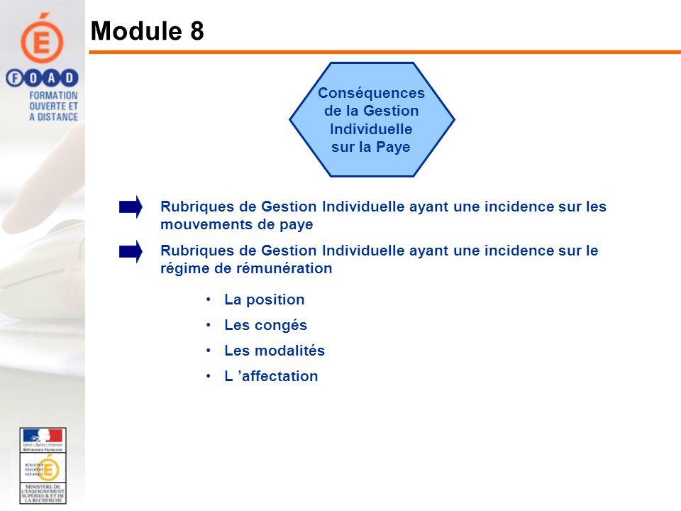 Conséquences de la Gestion Individuelle sur la Paye Rubriques de Gestion Individuelle ayant une incidence sur les mouvements de paye Rubriques de Gest