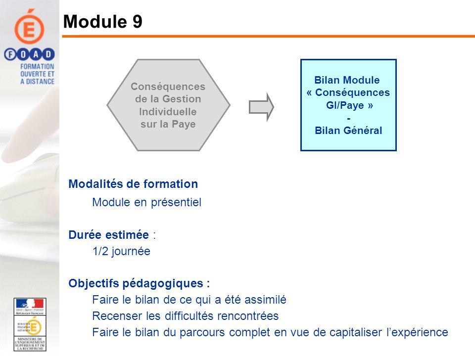 Bilan Module « Conséquences GI/Paye » - Bilan Général Conséquences de la Gestion Individuelle sur la Paye Modalités de formation Module en présentiel