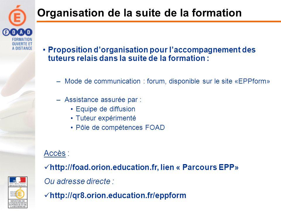 Proposition dorganisation pour laccompagnement des tuteurs relais dans la suite de la formation : –Mode de communication : forum, disponible sur le si