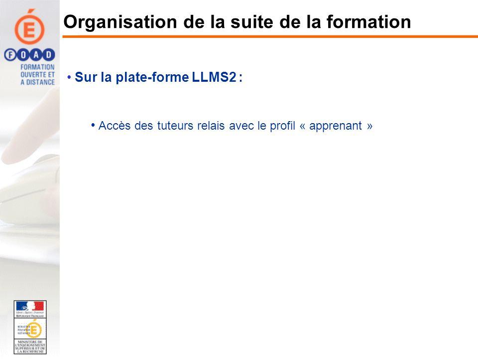 Sur la plate-forme LLMS2 : Accès des tuteurs relais avec le profil « apprenant » Organisation de la suite de la formation