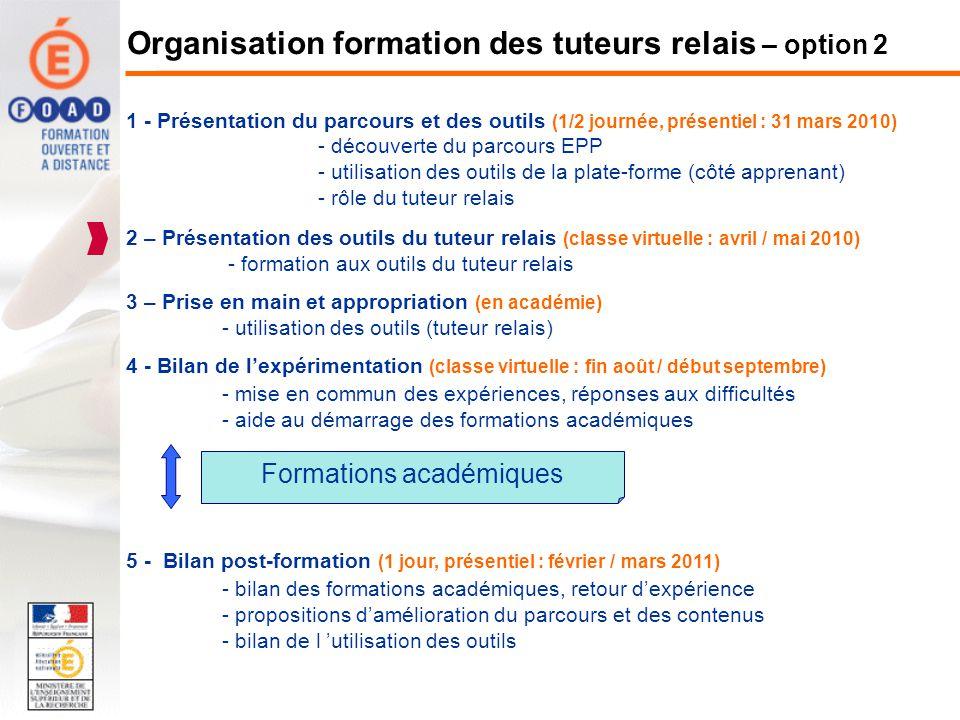 1 - Présentation du parcours et des outils (1/2 journée, présentiel : 31 mars 2010) - découverte du parcours EPP - utilisation des outils de la plate-