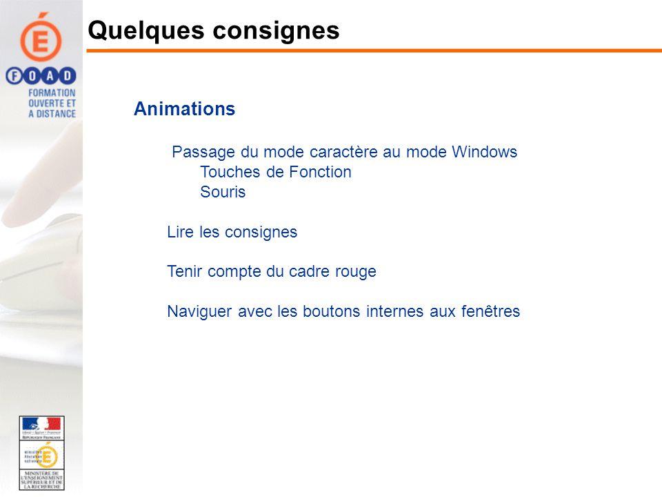 Animations Passage du mode caractère au mode Windows Touches de Fonction Souris Lire les consignes Tenir compte du cadre rouge Naviguer avec les bouto