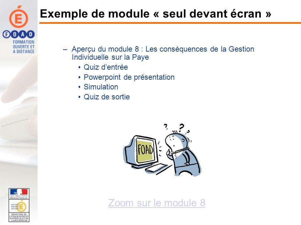 –Aperçu du module 8 : Les conséquences de la Gestion Individuelle sur la Paye Quiz dentrée Powerpoint de présentation Simulation Quiz de sortie Zoom s
