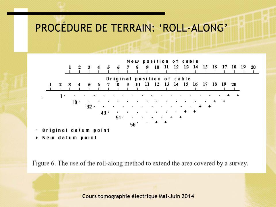 Cours tomographie électrique Mai-Juin 2014 Représentation : la pseudo- section Résistivité apparente observée Les données mesurées a sont présentées en sections de contour ou de couleur.