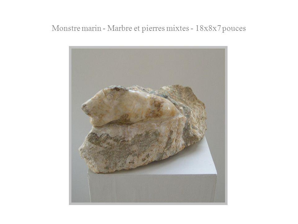 Monstre marin - Marbre et pierres mixtes - 18x8x7 pouces