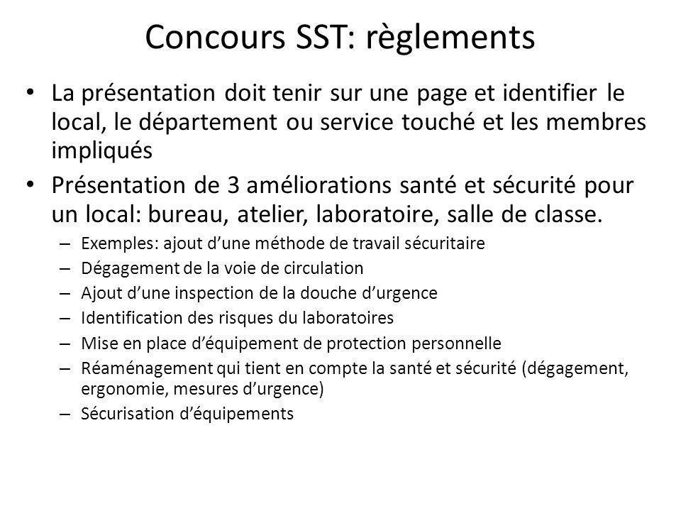 Concours SST: règlements La présentation doit tenir sur une page et identifier le local, le département ou service touché et les membres impliqués Pré