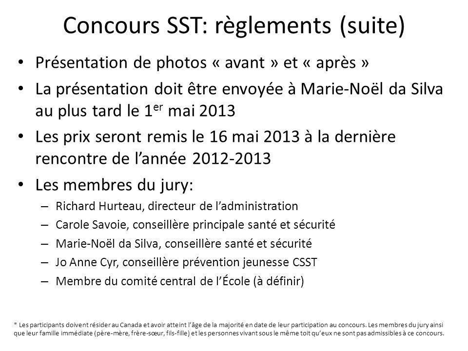Concours SST: règlements (suite) Présentation de photos « avant » et « après » La présentation doit être envoyée à Marie-Noël da Silva au plus tard le
