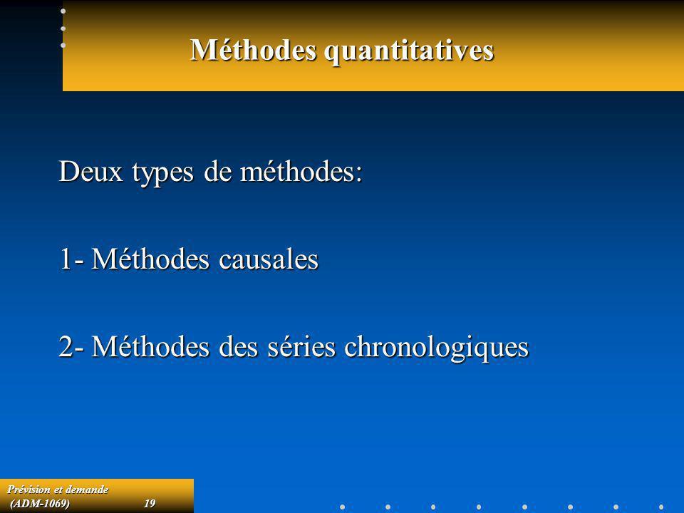 Prévision et demande (ADM-1069)19 (ADM-1069)19 Méthodes quantitatives Deux types de méthodes: 1- Méthodes causales 2- Méthodes des séries chronologiqu