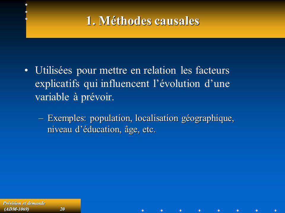 Prévision et demande (ADM-1069)20 (ADM-1069)20 1. Méthodes causales Utilisées pour mettre en relation les facteurs explicatifs qui influencent lévolut