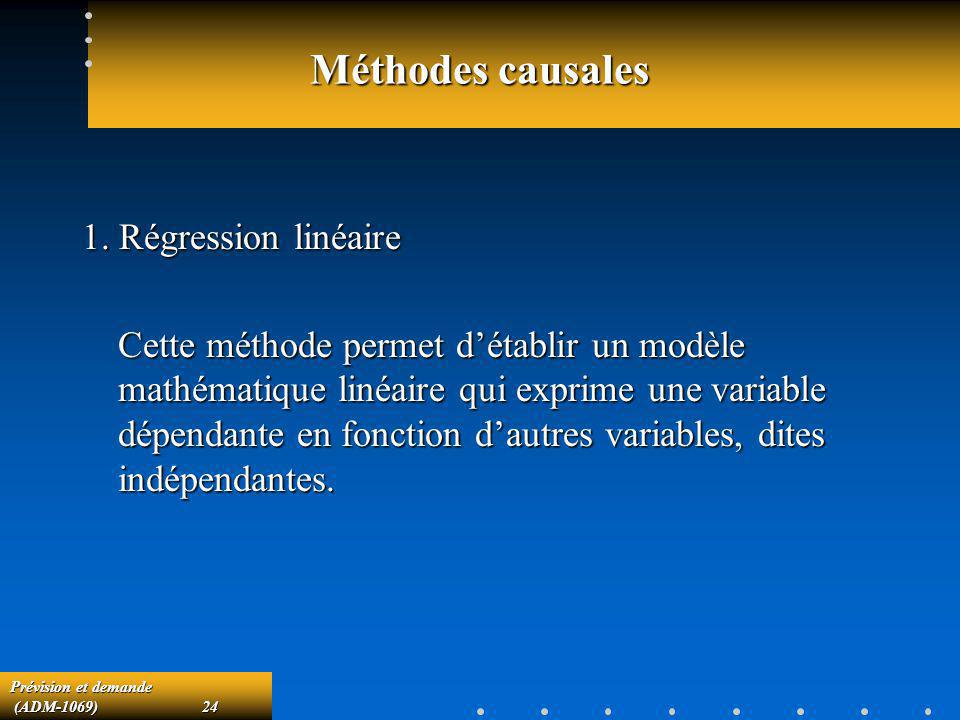 Prévision et demande (ADM-1069)24 (ADM-1069)24 Méthodes causales 1. Régression linéaire Cette méthode permet détablir un modèle mathématique linéaire