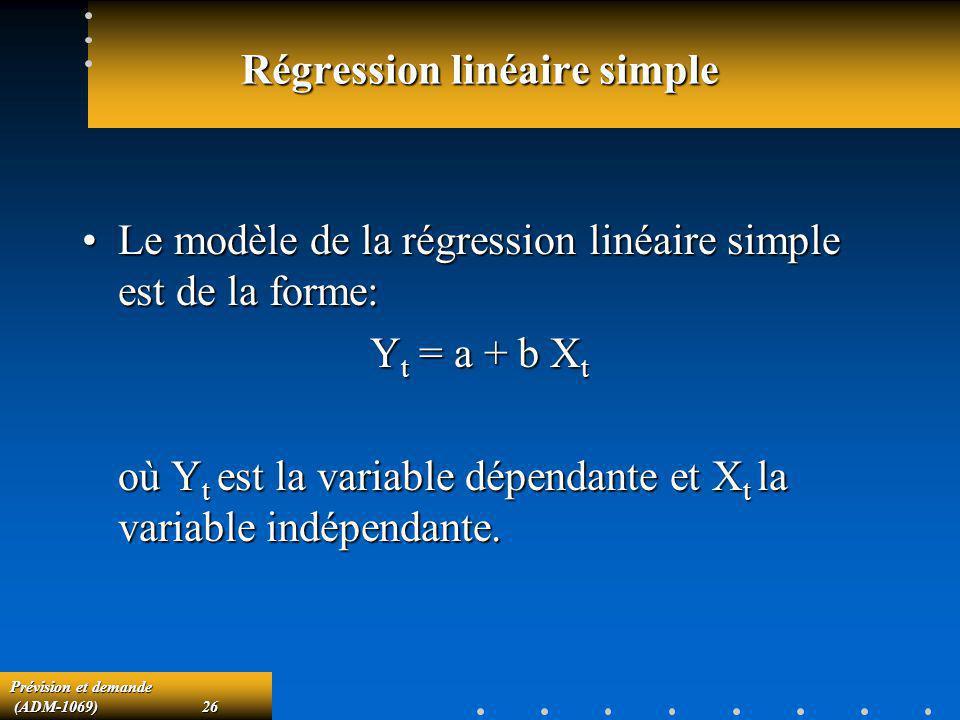 Prévision et demande (ADM-1069)26 (ADM-1069)26 Régression linéaire simple Le modèle de la régression linéaire simple est de la forme:Le modèle de la r