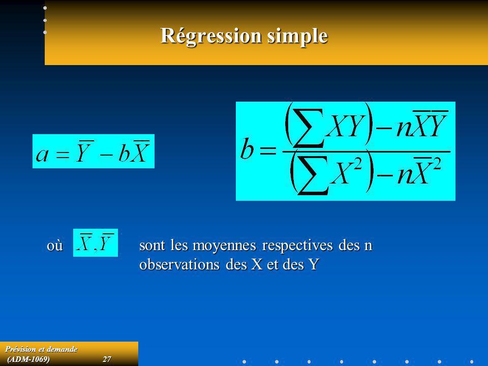 Prévision et demande (ADM-1069)27 (ADM-1069)27 Régression simple sont les moyennes respectives des n observations des X et des Y où
