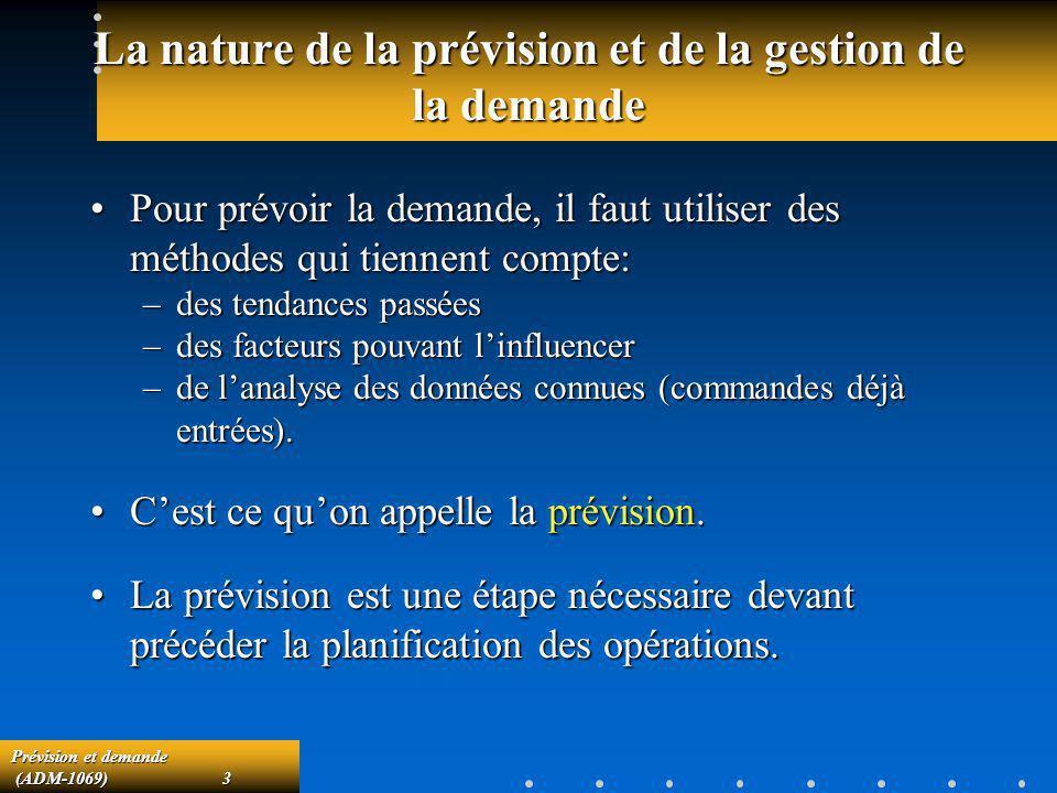Prévision et demande (ADM-1069)3 (ADM-1069)3 La nature de la prévision et de la gestion de la demande Pour prévoir la demande, il faut utiliser des mé