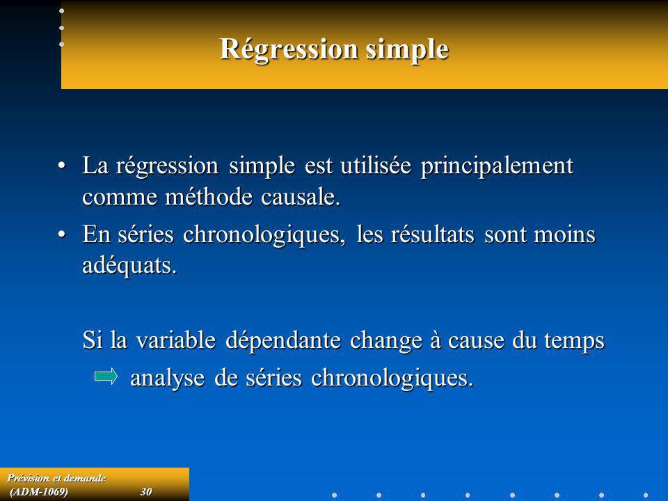 Prévision et demande (ADM-1069)30 (ADM-1069)30 Régression simple La régression simple est utilisée principalement comme méthode causale.La régression