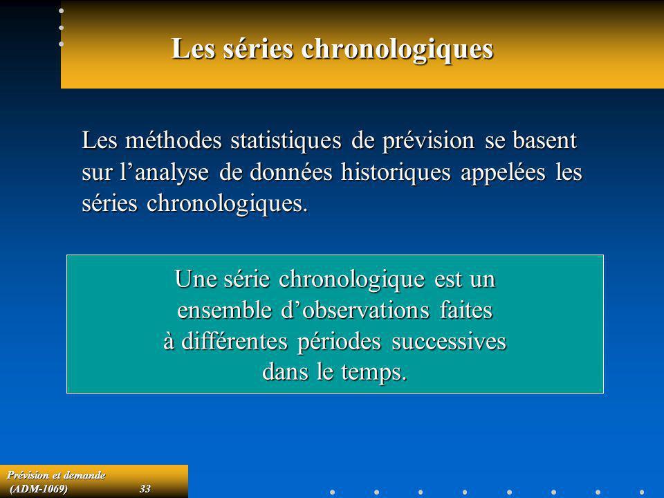 Prévision et demande (ADM-1069)33 (ADM-1069)33 Les séries chronologiques Les méthodes statistiques de prévision se basent sur lanalyse de données hist