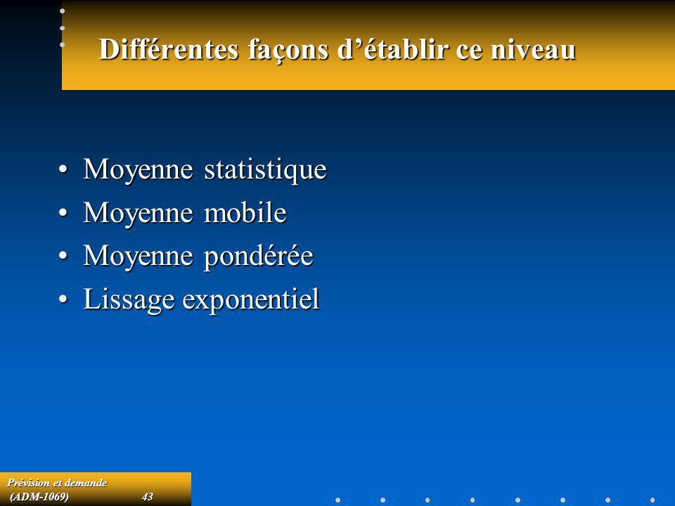 Prévision et demande (ADM-1069)43 (ADM-1069)43 Différentes façons détablir ce niveau Moyenne statistiqueMoyenne statistique Moyenne mobileMoyenne mobi