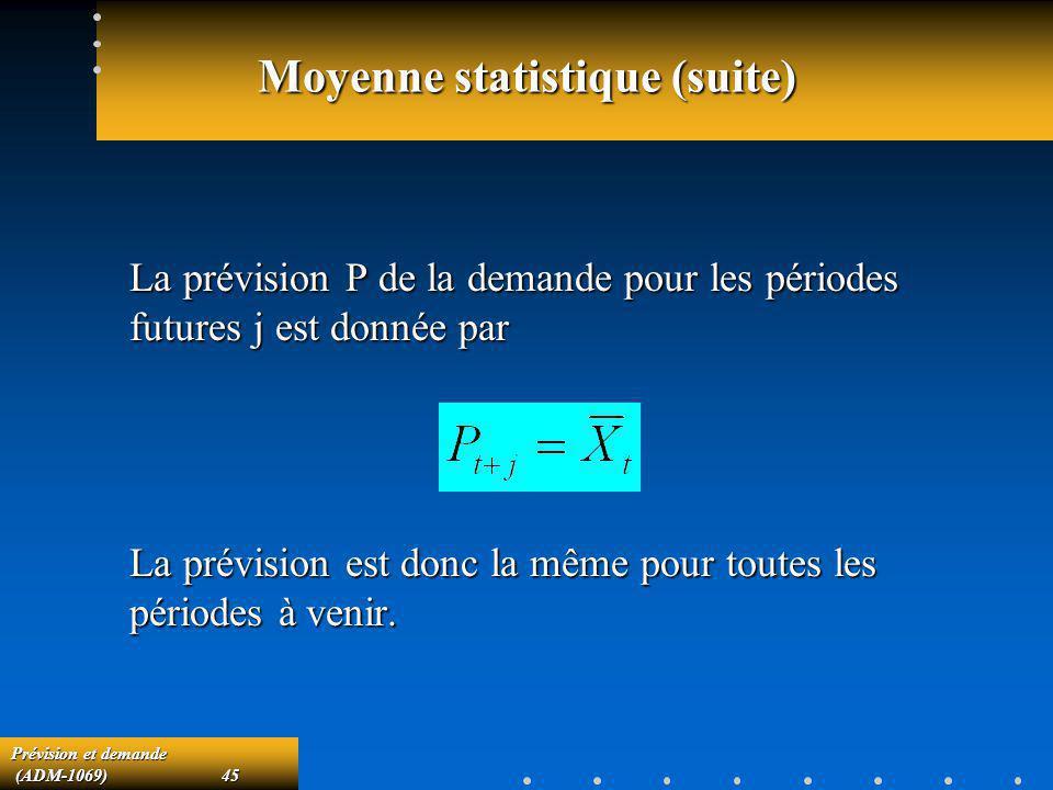 Prévision et demande (ADM-1069)45 (ADM-1069)45 Moyenne statistique (suite) La prévision P de la demande pour les périodes futures j est donnée par La