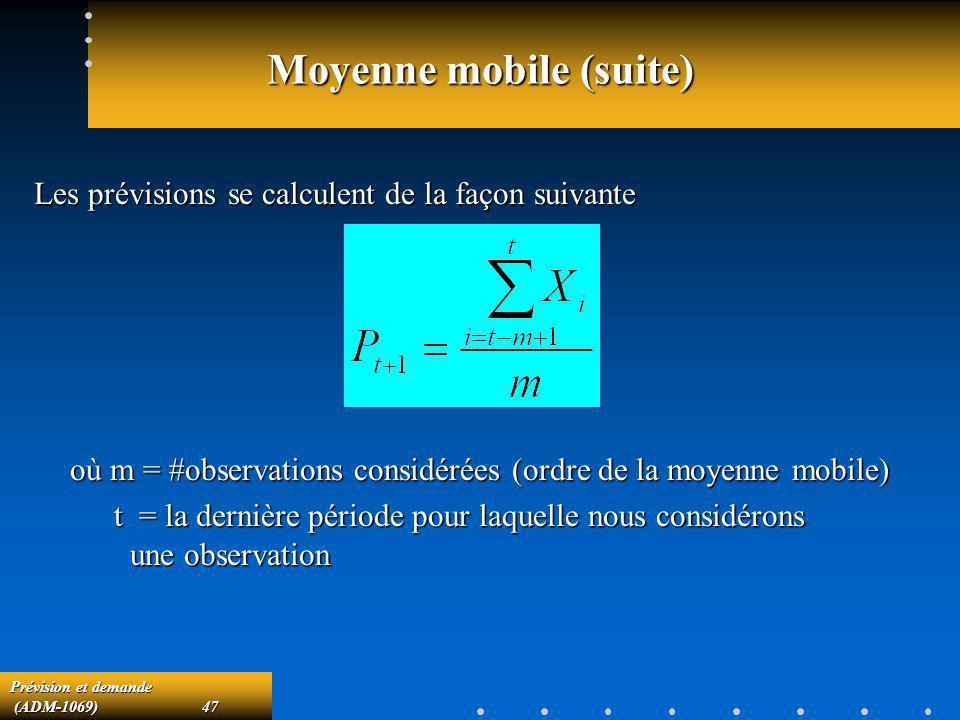 Prévision et demande (ADM-1069)47 (ADM-1069)47 Moyenne mobile (suite) Les prévisions se calculent de la façon suivante où m = #observations considérée