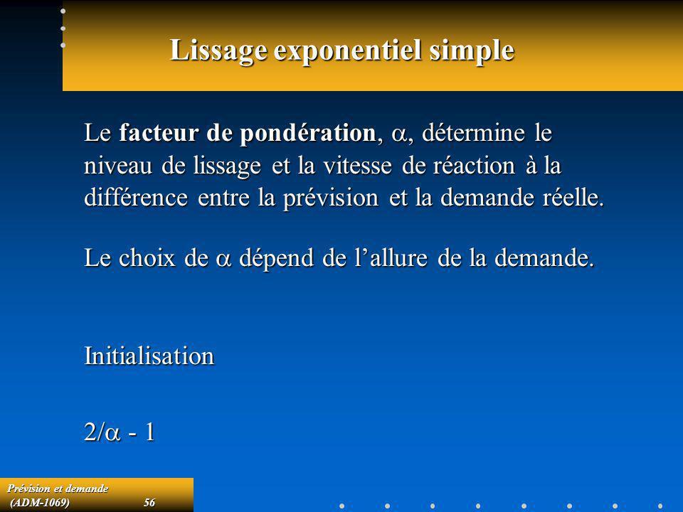 Prévision et demande (ADM-1069)56 (ADM-1069)56 Lissage exponentiel simple Le facteur de pondération,, détermine le niveau de lissage et la vitesse de
