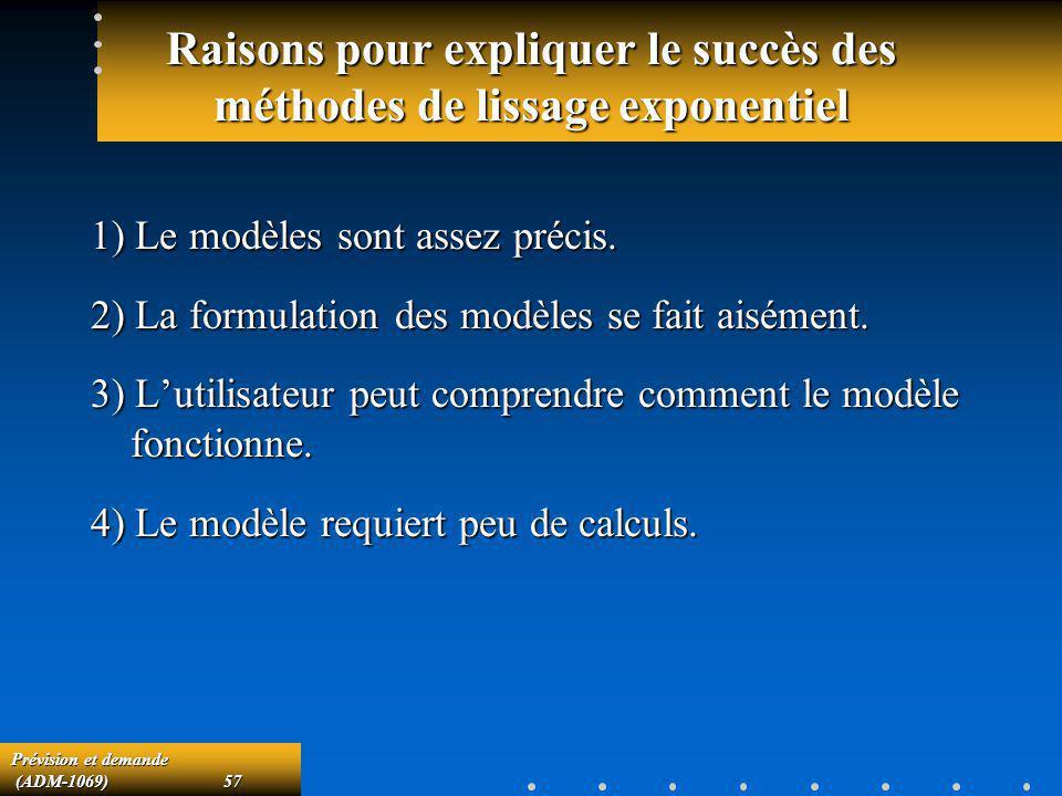Prévision et demande (ADM-1069)57 (ADM-1069)57 Raisons pour expliquer le succès des méthodes de lissage exponentiel 1) Le modèles sont assez précis. 2