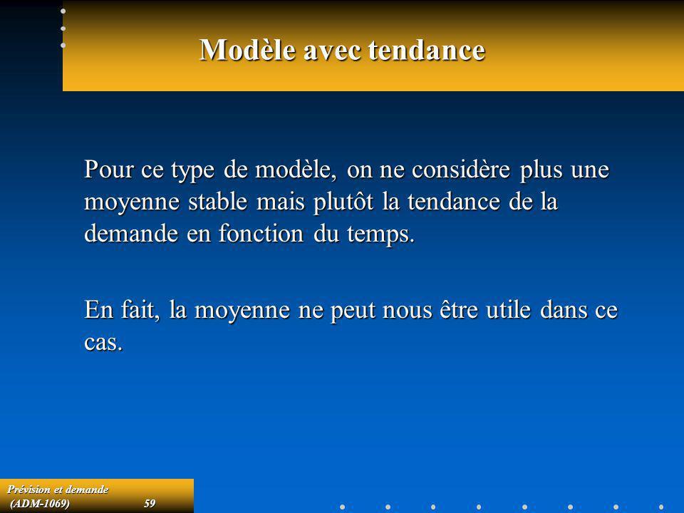 Prévision et demande (ADM-1069)59 (ADM-1069)59 Modèle avec tendance Pour ce type de modèle, on ne considère plus une moyenne stable mais plutôt la ten