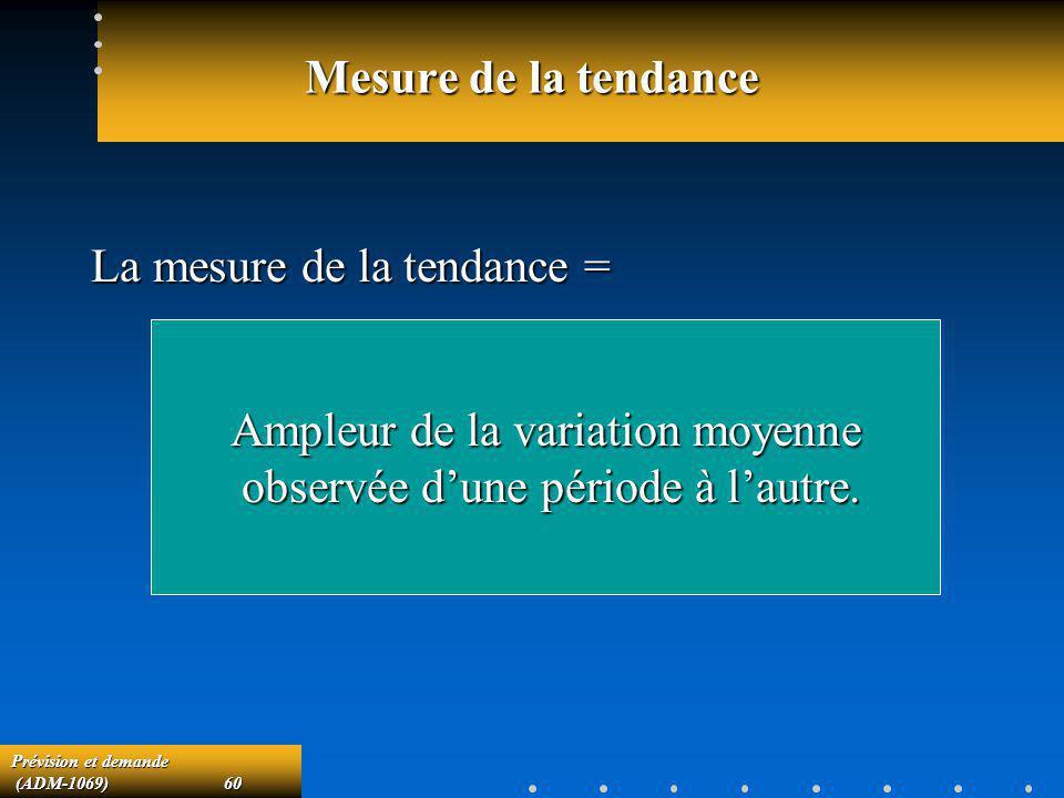Prévision et demande (ADM-1069)60 (ADM-1069)60 Mesure de la tendance La mesure de la tendance = Ampleur de la variation moyenne observée dune période