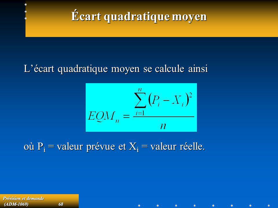 Prévision et demande (ADM-1069)68 (ADM-1069)68 Écart quadratique moyen Lécart quadratique moyen se calcule ainsi où P i = valeur prévue et X i = valeu