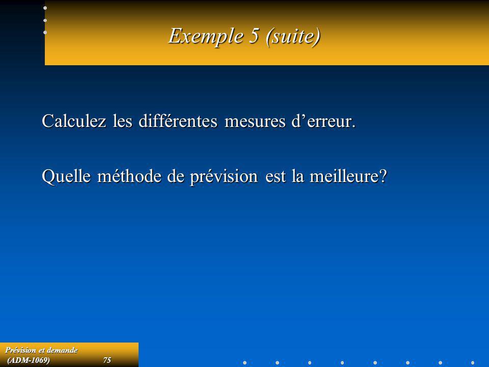 Prévision et demande (ADM-1069)75 (ADM-1069)75 Exemple 5 (suite) Calculez les différentes mesures derreur. Quelle méthode de prévision est la meilleur