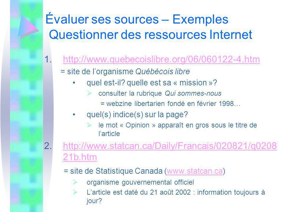 Évaluer ses sources – Exemples Questionner des ressources Internet 1.http://www.quebecoislibre.org/06/060122-4.htmhttp://www.quebecoislibre.org/06/060122-4.htm = site de lorganisme Québécois libre quel est-il.