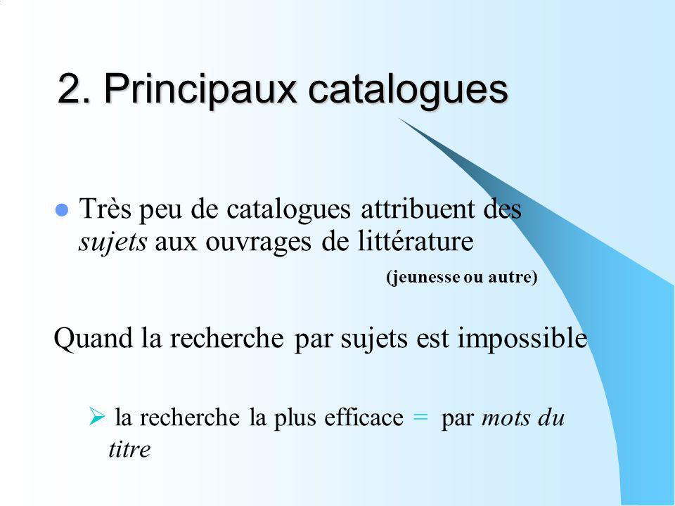 2. Principaux catalogues Très peu de catalogues attribuent des sujets aux ouvrages de littérature (jeunesse ou autre) Quand la recherche par sujets es