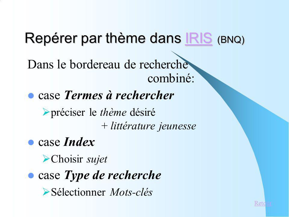 Repérer par thème dans IRIS (BNQ) IRIS Dans le bordereau de recherche combiné: case Termes à rechercher préciser le thème désiré + littérature jeuness